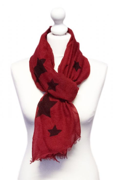 Believe -  Large Silky Touch Star Printed Scarf (Red)